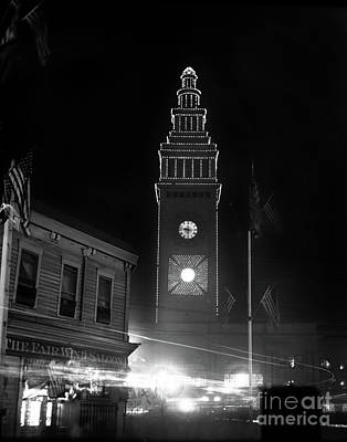 Photograph - Ferry Building, The Fair Wind Saloon, San Francisco At Night Circa 1900 by California Views Mr Pat Hathaway Archives
