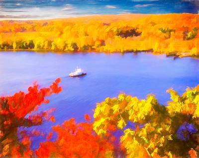 Digital Art - Ferry Crossing Connecticut River. by Rusty R Smith
