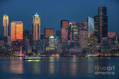 Skylines Royalty-Free and Rights-Managed Images - Ferry Crossing Elliott Bay at Sunset by Mike Reid