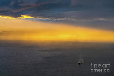 Skylines Royalty-Free and Rights-Managed Images - Ferry Crossing Sunset Rain Squall by Mike Reid