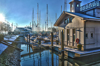 Ferry Harbour In Winter Art Print by Frans Blok
