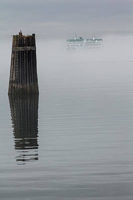 Photograph - Ferry Hiding In The Fog by Tony Locke