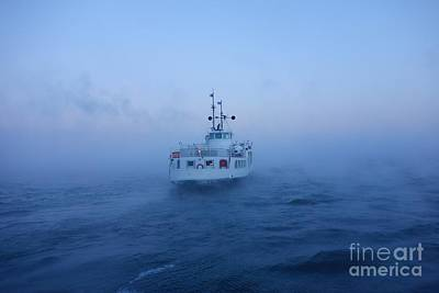 Helsinki Photograph - Ferry In The Baltic Sea On Freezing Cold Winter Morning by Mikko Palonkorpi