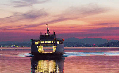 Photograph - Ferry Issaquah Docking At Dawn by E Faithe Lester