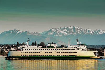 Photograph - Ferry Kitsap With Olympic Mountains by E Faithe Lester