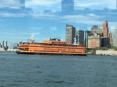 Photograph - Ferry On The Hudson by Val Oconnor