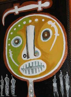 Weusi Art Painting - Fertility Mask by Robert Daniels