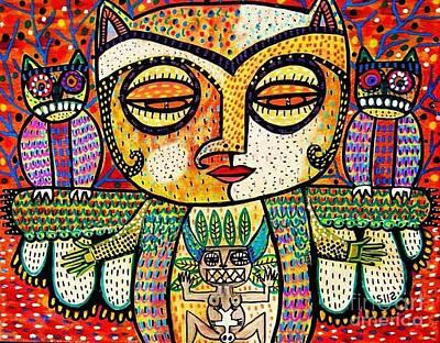 Fertility Totem Owl Goddess Art Print