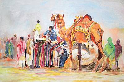 Painting - Festival Activity by Khalid Saeed