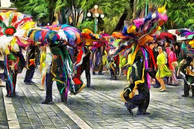 Impressionism Digital Art - Festival In Tlaxcala by Jean-Marc Lacombe