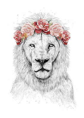 Floral Drawing - Festival Lion by Balazs Solti