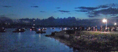 Art Print featuring the photograph Festival Night Land And Shore by Felipe Adan Lerma