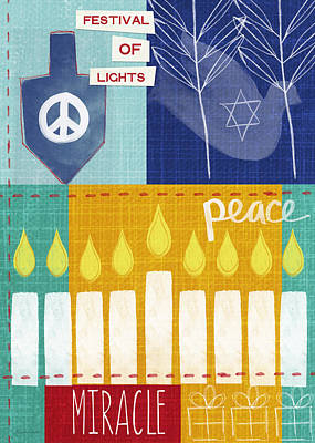 Mixed Media Rights Managed Images - Festival of Lights- Hanukkah Art by Linda Woods Royalty-Free Image by Linda Woods