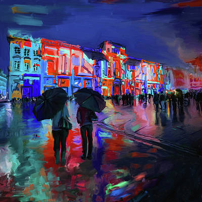 Light Show Painting - Festival Of Lights Lyon 1 258 3 by Mawra Tahreem