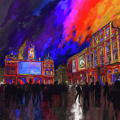 Notre Dame Street Painting - Festival Of Lights, Lyon 4 261 1 by Mawra Tahreem