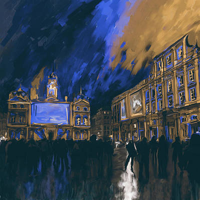 Notre Dame Street Painting - Festival Of Lights Lyon 4 261 3 by Mawra Tahreem