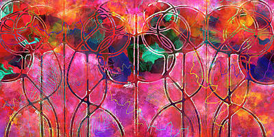 Art Nouveau Style Mixed Media - Festive Balloons - Vintage Art Nouveau Abstraction by Rayanda Arts