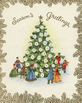 Singing Drawing - Festive Christmas Tree In A Town Square by American School