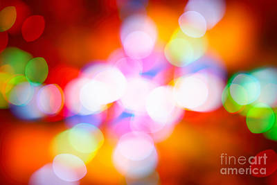 Photograph - Festive Colorful Bokeh Background by Anna Om