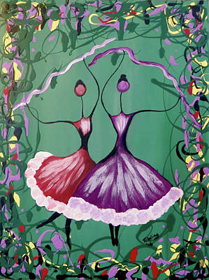 Festive Dancers Art Print by Teresa Wing
