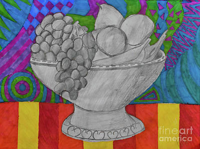 Drawing - Festive Fruit Bowl by Karlie White