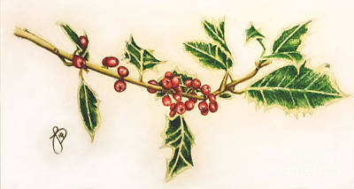 Painting - Festive Holly by Jeanette Hibbert