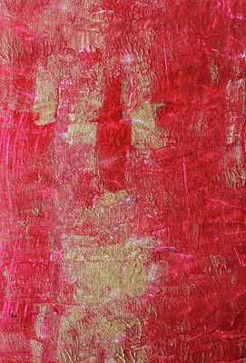 Red Roses - Festive Season 2     #holidays #Christmas #painting #gold #abstract by Andrea Anderegg