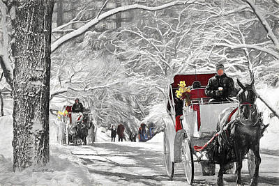 Painting - Festive Winter Carriage Rides Black And White by Sandi OReilly