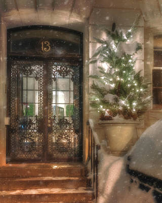 Photograph - Festive Winter Doorway - Back Bay - Boston by Joann Vitali