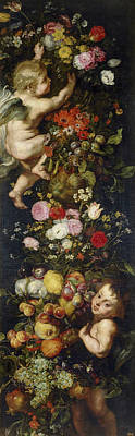 Blossom Painting - Festoon Of Flowers And Fruits And Cherubs by Peter Paul Rubens
