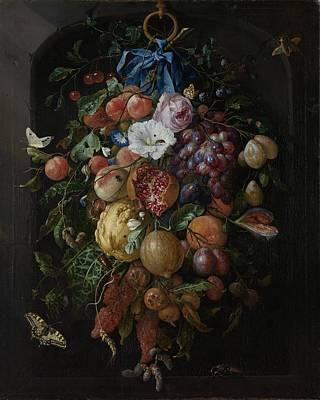 Heem Painting - Festoon Of Fruit And Flowers by Jan Davidsz de Heem