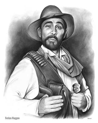 50s Drawing - Festus Haggen by Greg Joens