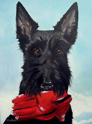 Scottish Dog Painting - Fetch by Terry Cox Joseph