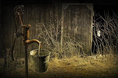 Fetching Water From The Old Pump Art Print