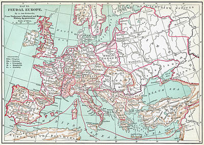 Drawing - Feudal Europe Map.  by Granger