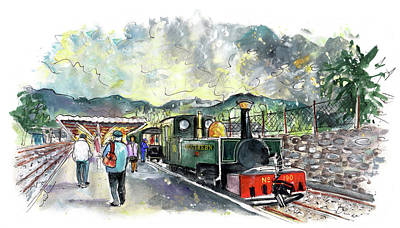 Painting - Ffestiniog Train Station In Snowdonia 02 by Miki De Goodaboom