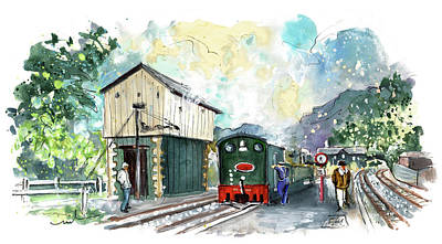 Western Art - Ffestiniog Train Station In Snowdonia by Miki De Goodaboom