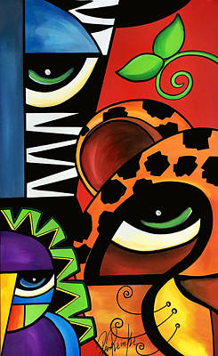 Picasso Style Painting - The Trio by Pam Reinke