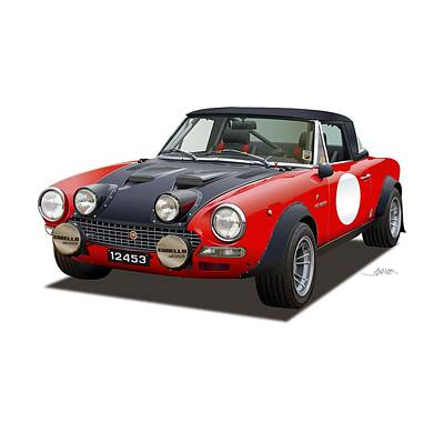 Drawing - Fiat 124 Abarth Rally Illustration by Alain Jamar