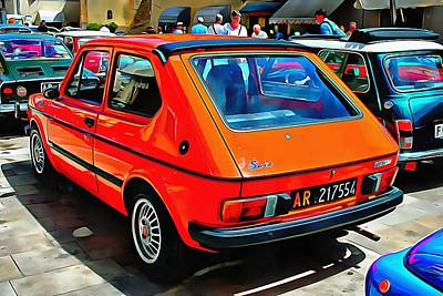 Photograph - Fiat 127 Orange Version Rear View by Dorothy Berry-Lound