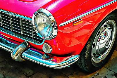 Photograph - Fiat 1500 Cabriolet Red Version Front Detail by Dorothy Berry-Lound
