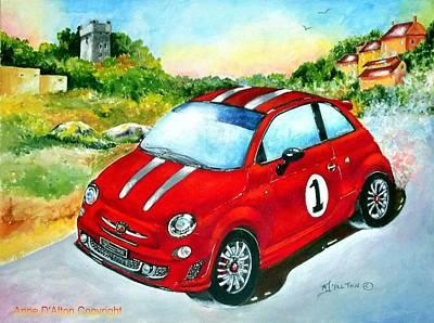 Fiat Car Painting - Fiat 500 Abarth by Anne Dalton