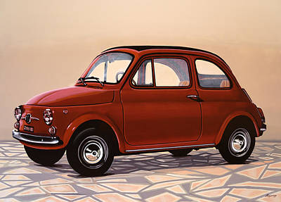 Retro Painting - Fiat 500 1957 Painting by Paul Meijering