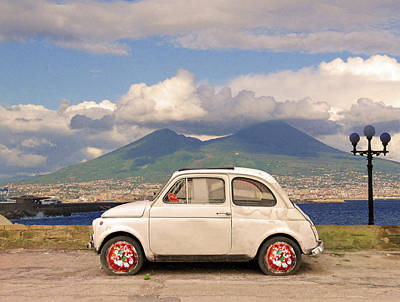 Landscapes Digital Art - Fiat 500 Pizza by Dario ASSISI