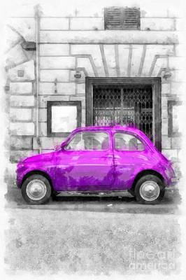 Rome Digital Art - Fiat 500 Watercolor by Edward Fielding