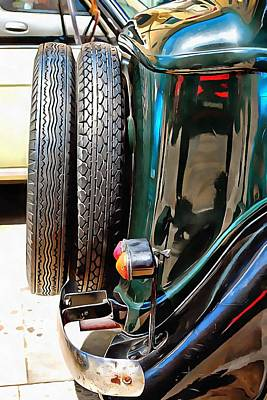 Photograph - Fiat 508 Balila Rear View Showing Spare Tyres by Dorothy Berry-Lound
