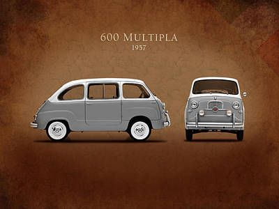 Retro Car Photograph - Fiat 600 Multipla 1957 by Mark Rogan
