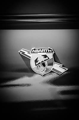 Photograph - Fiat Abarth Emblem -ck1611bw by Jill Reger