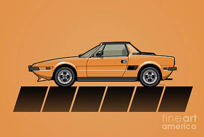 Fiat Bertone X1/9 Orange Stripes Original by Monkey Crisis On Mars
