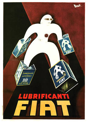 Mixed Media - Fiat Lubrificanti - Lubricants Oil - Vintage Italian Advertising Poster by Studio Grafiikka